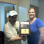 "Rebecca Ward, Sponsorship Chair for Wyoming County Relay For Life, presents ""Team Trevor"" with a plaque & some goodies to thank us for our involvement in the 2012 Relay."