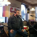 Jimi Jamm sings his butt off at our first ever CJ Jingle Bell Breakfast Broadcast at Silver Lake Family Restaurant in Warsaw!