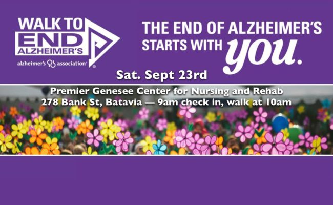 WALK TO END ALZHEIMER'S IS SEPT. 23RD